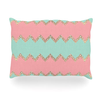 "Monika Strigel ""Avalon Soft Coral and Mint Chevron"" Orange Green Oblong Pillow"