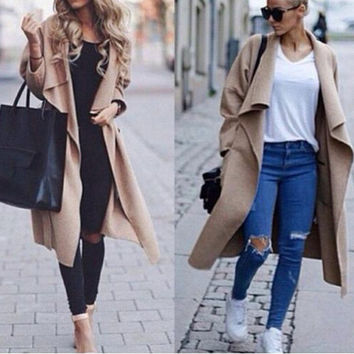 Winter Women Long Sleeved Loose Cardigan Jacket