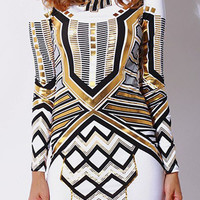 White/Metallic Gold Tribal Print Long Sleeve Fitted Backless Dress | Simply Everything