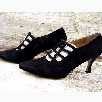 Vintage Saks Fifth Avenue Black Italian Suede Strappy Pointed Pumps Size 10M Corseted Heels Circa 1980s Victorian Wedding