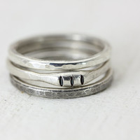 Silver Tide Ring Set - 3 Sterling Silver Stack Rings - Minimalist Artisan Ring - Christina Guenther
