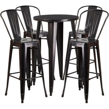 24'' Round Black-Antique Gold Metal Indoor-Outdoor Bar Table Set with 4 Cafe Stools [CH-51080BH-4-30CAFE-BQ-GG]