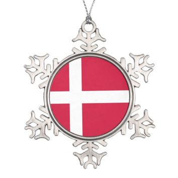 Snowflake Ornament with Denmark Flag