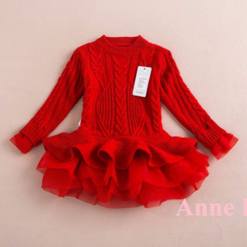 "The ""Lana"" Sweater Tutu Dress in Red"