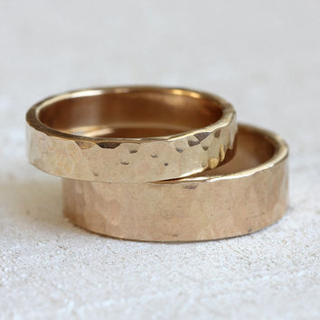 Wedding ring set 14k gold hammered wedding ring set