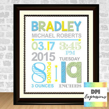 Custom Baby Birth Print,  Printable Baby Boy Birth Announcement, Nursery Birth Art Print, Baby Birth Stats Art Print, Digital File