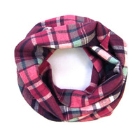 Pink Plaid Flannel Scarf - Childs