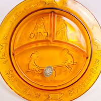 Vintage Amber Glass Childs Divided Plate Nursery Rhyme Plate See Saw Margery Daw Tiara Exclusive Indiana Glass Co