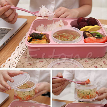 1170ML Microwave Bento Lunch Box Food Container Storage Picnic Box + Spoon Utensils