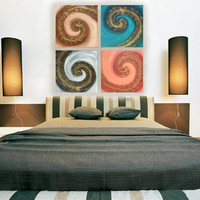"Original Contemporary textured Painting on canvas ""Swirl"" KSAVERA  30x30x1,6 Relief Gold Art Nouveau for Office Livingsroom Bettroom"