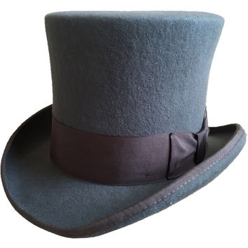 "Gray 18.0cm 7"" Mad Hatter Top Hat Victorian Wool Felt Steampunk Costume Top Hat Cylinder Hat Magic Hat For Women"