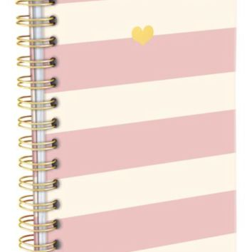 Blush Pink and Heart Charm Stripe Hard Bound Journal