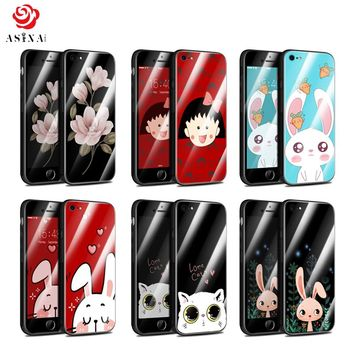 ASINA Tempered Glass Case For iPhone 7 8 Luxury Hard Case For iPhone 7 8 Plus Cute Cartoon Fundas