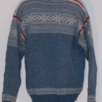 Nordic Icelandic Sweater Med Large Nomad Pure Wool VTG Hand Loomed in USA Pewter Buttons Fair Isle