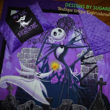 Baby Crib Blanket Jack Skellington Nightmare Before Christmas & ZERO Pillow Available  ReaDy to SHiP! Designs by Sugarbear Nursery Gift