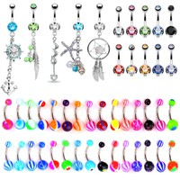 BodyJ4You 65 Belly Button Rings Dangle Barbells 14G Acrylic Bioflex Steel CZ Navel Body Jewelry