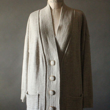 Vintage 80's Oatmeal Knit Button Up Cardigan Sweater by IO, made in Italy