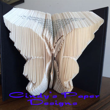 Folded Book Art Pattern Beautiful Butterfly Fold Book Art PATTERN Measure Mark and Fold Method Mother's Day book sculpture