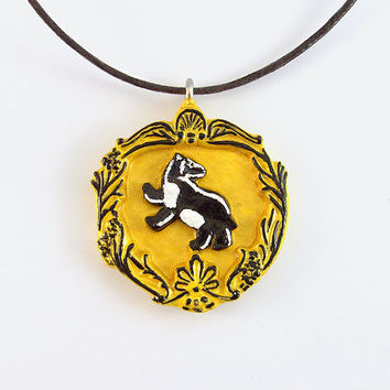 Hufflepuff House Crest Pendant and Necklace by TheClayPony on Etsy