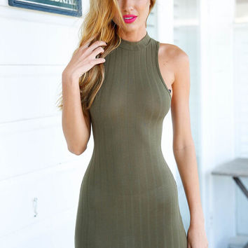 Halter Neck Cut Out Back Bodycon Dress