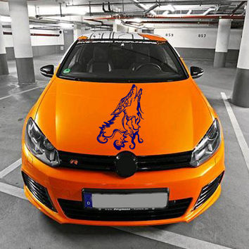Vinyl Decal Sticker for Car Hood  fits any Auto Vehicle Wild Animal Howling Wolf TK16 In 25 Colors