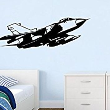 Wall Decal Vinyl Sticker Decals Art Decor Design War Plane Military Air Aviation Airplane Sky Attack Boys Bedroom Kids Nursery(r700)