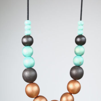 Bronze turquoise black large wood necklace, dark grey, color block large bead necklace fashion, long leather cord