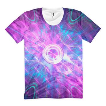 Opening a Shiny Purple Button || Women's sublimation t-shirt — Future Life Fashion