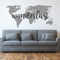 Wanderlust - World Map - Wanderlust decal - World Map Decal - Travel - Wall Decals - Home Decor - Wanderlust world map wall decal