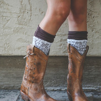 Jersey Knit Boot Cuffs with Lace Overlay