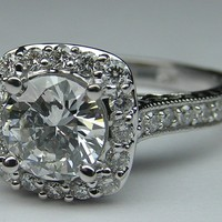 Engagement Ring - Halo Engagement Ring Setting Floral Gallery in 14K White Gold - ES921BRWG