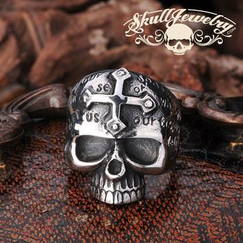 Lords Prayer Skull Ring with Cross on Forehead (355SILVER)