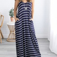 Summer Lovin' Maxi Dress w/Pockets - Navy