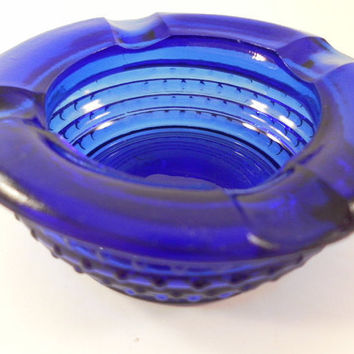 Vintage Royal Blue Glass Ashtray Collectible by ItsAllTreasure