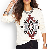 FOREVER 21 Worldly Open-Knit Sweater Cream/Burgundy
