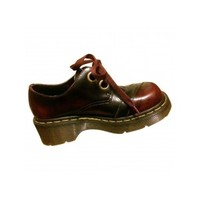 Burgundy Leather Flats DR. MARTENS