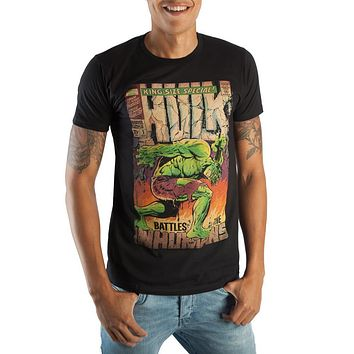 Vintage The Hulk Marvel Comic Book Cover Artwork Men's Black Graphic Print Boxed Cotton T-Shirt