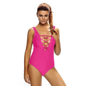 Chicloth Solid Rosy Print Lace Up V Neck Teddy Swimwear