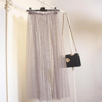 Perspective Tulle Skirt (popular This Year) Cheap Long Skirts High Waist Pleated Skirt free shipping 2017