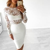 FASHION HOLLOW OUT TIGHT LONG-SLEEVED DRESS