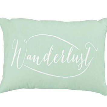 "20""x14"" Mint Wanderlust Decorative Pillow Cover"