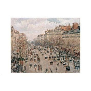 BOULEVARD MONTMARTRE IN PARIS fine art painting poster CAMILLE PISSARO 24X36