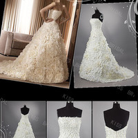 Chic A-line strapless Floor-length Chapel Tiered & pleated Wedding Dresses