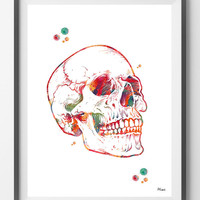 Human skull watercolor print anatomical skull poster medical art anatomy art skeletal system skull structure print human skeleton wall decor