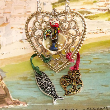 Portugal folk jewelry rooster Heart necklace sardine Portuguese filigree pendant rhinestones