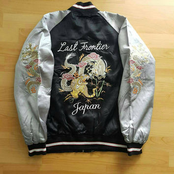 Sukajan Japan Souvenir Jacket, Dragon and Tiger Embroidery Bomber Jacket Large Adult