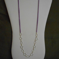 SALE 28 inch long Purple and Silver Flower Chain Asymmetrical Necklace