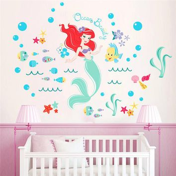 lovely mermaid fairy wall stickers for kids rooms bathroom decor cartoon seabed bubble fish wall decals pvc poster girl's gift