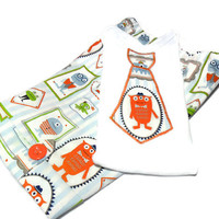 Baby Boy Clothes - Baby Boy Shorts and shirt - Boy Summer Outfit - Monsters