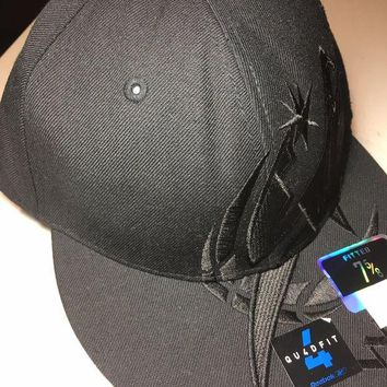 ONETOW BRAND NEW WASHINGTON WIZARDS ALL BLACK FLAT BRIM REEBOK FITTED HAT SHIPPING